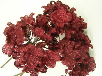 Burgundy burlap flowers
