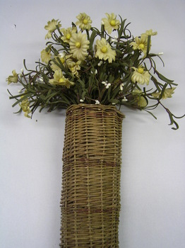 willow basket with daisies