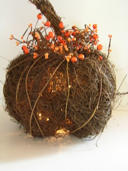 Twig Lighted Pumpkin