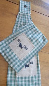 Green crow Tie Towel