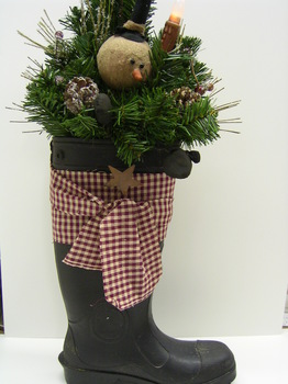 Santa Boot With Greens