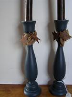 Blue Candlesticks With Homespun