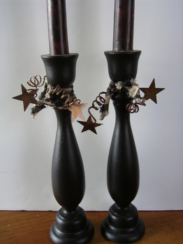 Black Candlesticks With Homespun