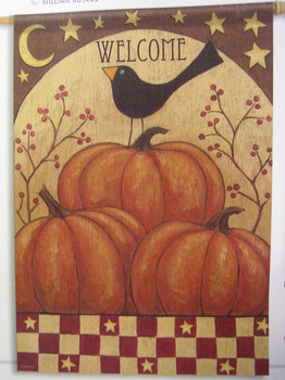 Pumpkin & Crow Garden Flag