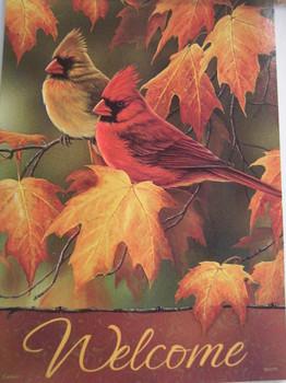 Fall Cardinals Garden  Flag
