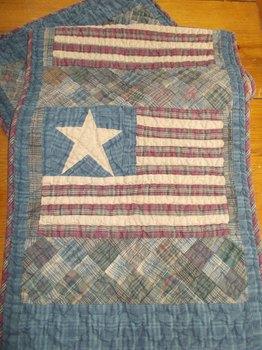 Primitive quilted Flag Runner