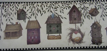 Country Birdhouse Border