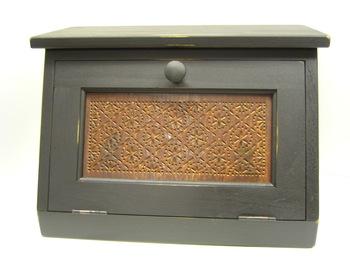 Black Tin Punch Bread Box