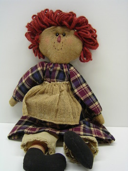 Raggedy Doll With Plaid Dress