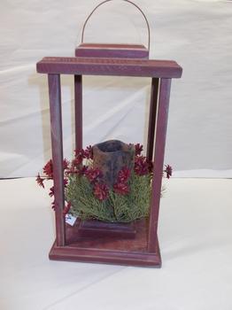 Wood Lantern Red