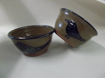 Crow pottery bowl