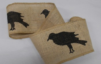Black Crow Burlap Ribbon