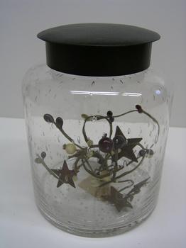 Lg Teal Glass Jar