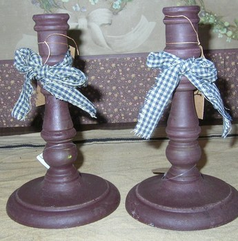 Burgundy candle stick pair