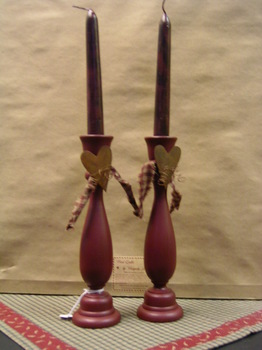 Red Candlesticks With Homespun