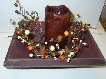 Wooden Candle Tray Burgundy