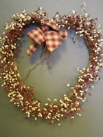 Red & Cream Heart Wreath