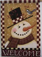 Snowman & Chickadee Garden Flag