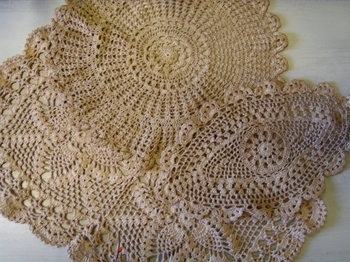 tea dyed doily table runner