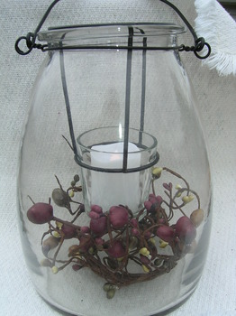 Glass Jar  Hanging Votive