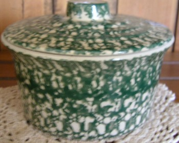 Pottery Butter Tub Green