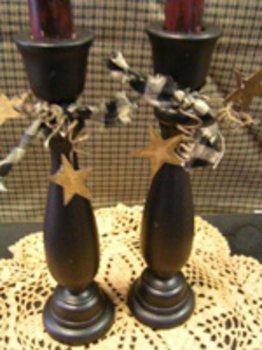 Tall Wooden Candlesticks Black